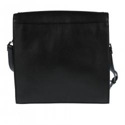 BLACK LEATHER SHOULDER BAG WITH ELEVATION LOGO
