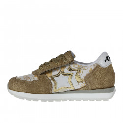 WHITE AND BEIGE FANTASY SNEAKER WITH GOLD LUREX