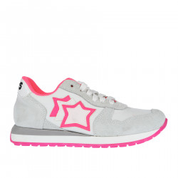 WHITE FABRIC AND SUEDE SNEAKER WITH FLUORESCENT PINK PROFILES