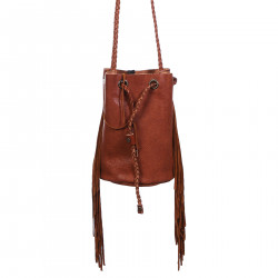 LIGHT BROWN BUCKET BAG WITH FRINGES