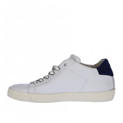 WHITE LEATHER SNEAKER WITH BLUE INSERT