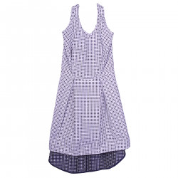 WHITE DRESS WITH BLUE POLKA DOT AND GOLD LUREX